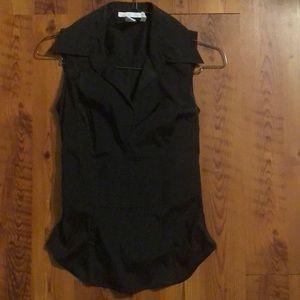 Black Collared Tie Back Blouse EUC